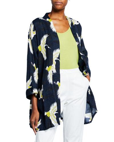 Josslyn Crane-Print Open-Front Shantung Kimono Jacket
