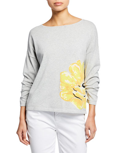 Long-Sleeve Flower Intarsia Cotton Sweater