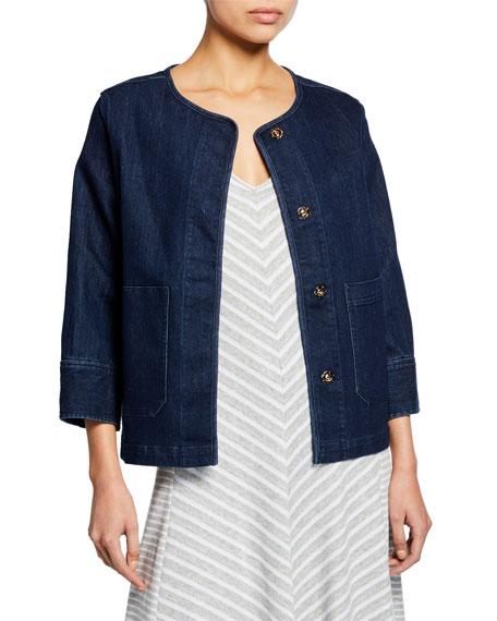 Joan Vass Snap-Front Denim Jacket