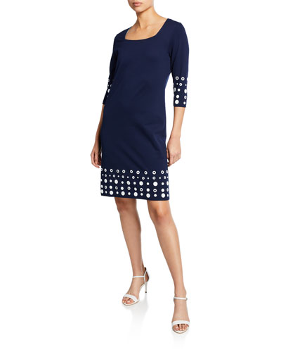 Petite Square-Neck 3/4-Sleeve Dress with Circle Border Trim