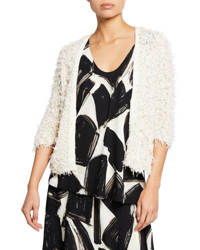 Plus Size Plush Party 3/4-Sleeve Fuzzy Cardigan