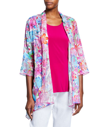 Petite Floral Frenzy Burnout Side-Fall Open-Front Cardigan