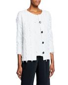 Caroline Rose Petite Glamour Fringe Button-Front Boxy Jacket