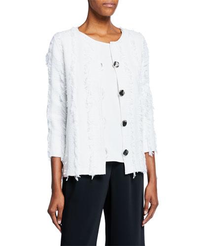 Petite Glamour Fringe Button-Front Boxy Jacket