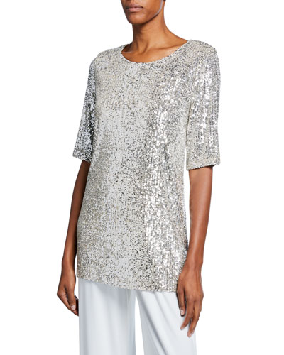 Petite Sequin Knit Half-Sleeve Easy Tee