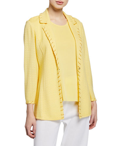 Plus Size Textured Notch-Collar Jacket with Trim Detail