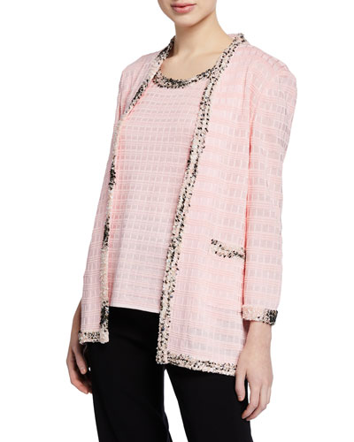 Textured Jacket with Tweed Trim