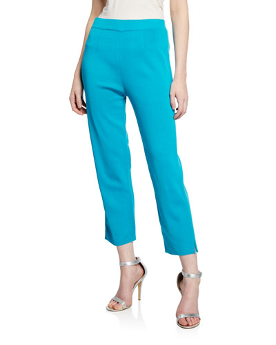 Mid-Rise Straight-Leg Cropped Pull-On Pants