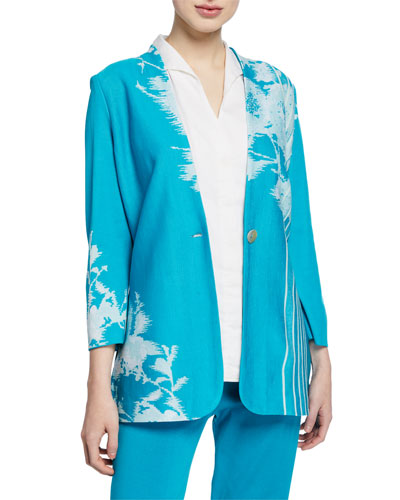 Floral-Print One-Button Long Jacket