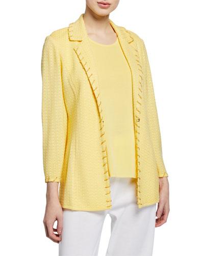 Petite Textured Notch-Collar Jacket with Trim Detail