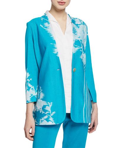 Petite Floral-Print One-Button Long Jacket