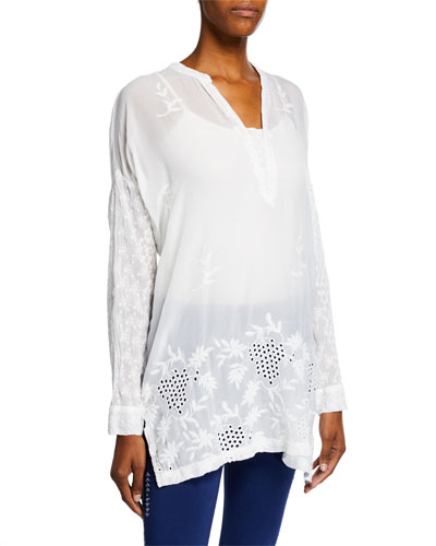 Petite Ellie Long-Sleeve Georgette Eyelet & Embroidered Top