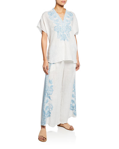Lily Embroidered Short-Sleeve Blouse