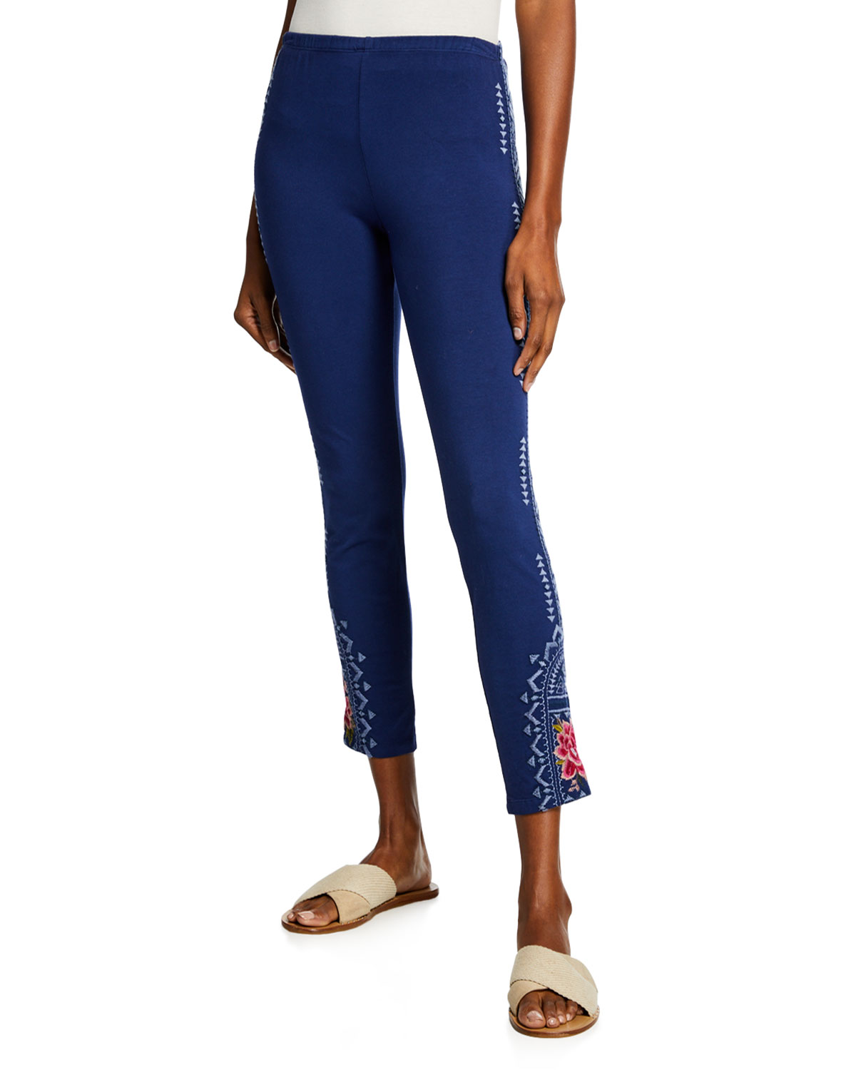Johnny Was Pants DAVIS LEGGINGS WITH FLORAL EMBROIDERY
