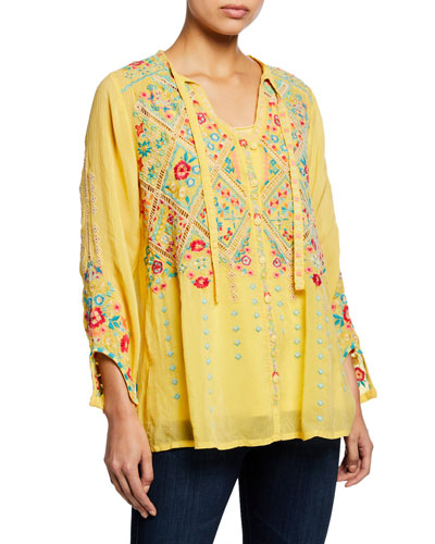 Petite Arges Embroidered Georgette Blouse