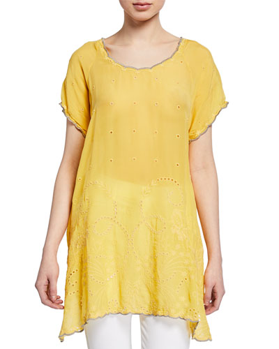 Plus Size Caleb Eyelet and Embroidered Top