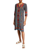 Johnny Was Petite Ornelia Weekend Linen Embroidered Shift