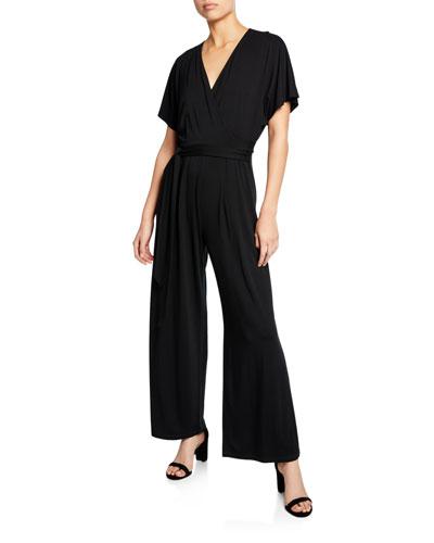 f3e7b7668f2d9 Quick Look. NIC+ZOE · Plus Size Ease V-Neck Short-Sleeve Wide-Leg Jumpsuit