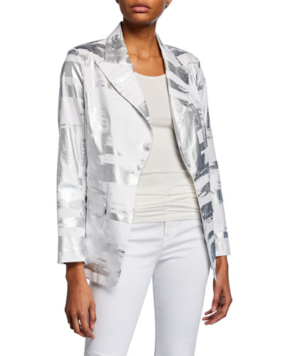 Plus Size Notched Collar Foil Blazer