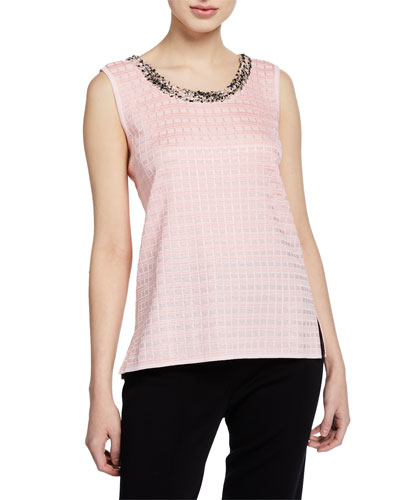 Plus Size Sugar Scoop-Neck Tank with Tweed Trim