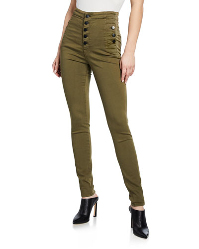 Natasha Button-Fly Ankle Skinny Pants