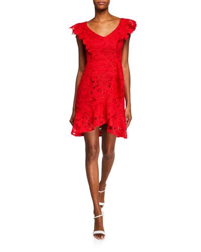 Valentine Floral Lace Asymmetric Flounce Dress