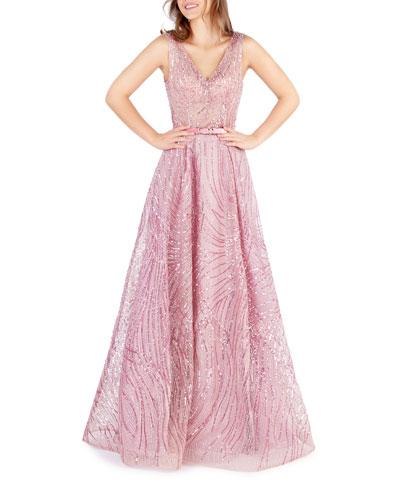 Sequin Embellished V-Neck Sleeveless Gown with Belt