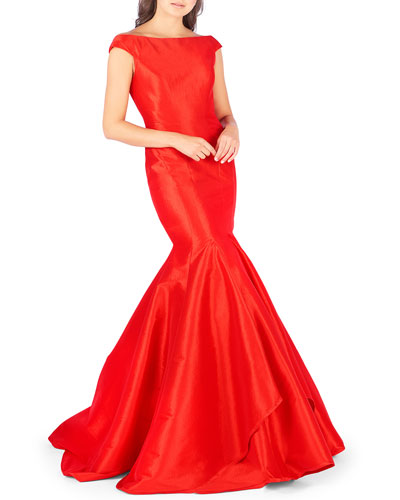 Off-the-Shoulder Satin Mermaid Gown