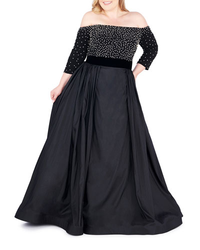Plus Size Off-the-Shoulder 3/4-Sleeve Gown w/ Jersey Bodice