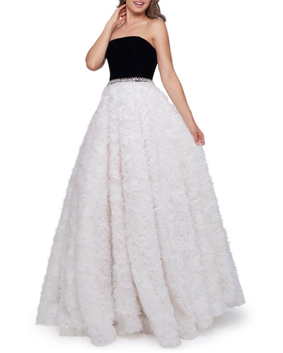 Strapless Ball Gown with Velvet Bodice & Textured Ribbon Skirt