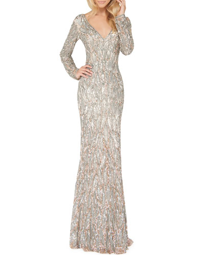 3f38ac84a6 Sequin V Neck Gown