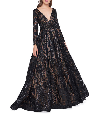 Sequin Burnout Plunge-Neck Long-Sleeve Ball Gown