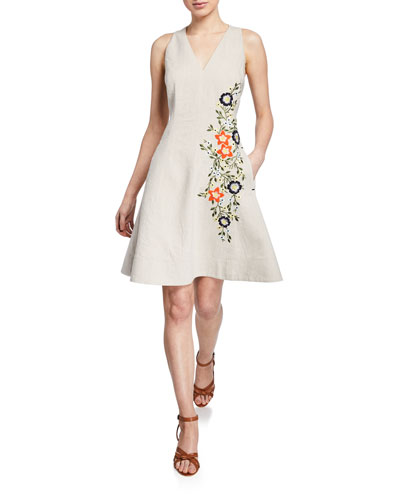 ed0c8f1d94b5f Quick Look. Elie Tahari · Londa V-Neck Sleeveless Fit-and-Flare Linen Dress