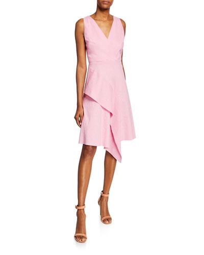 Isa Sleeveless Asymmetric Flounce Dress