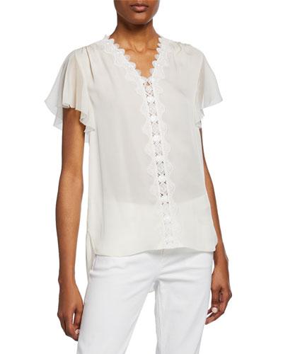 0ca2707dea0 Short Sleeve Silk Blouse