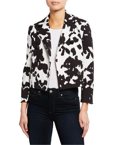 Macie Cropped Animal-Print Jacket