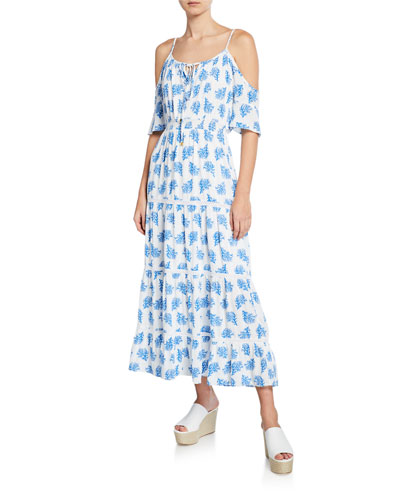 Painterly Reef Cold-Shoulder Short-Sleeve Maxi Dress
