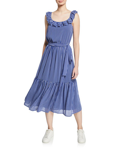 Ruffled Railroad Stripe Midi Dress
