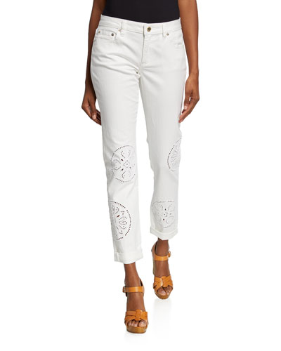 Embroidered Straight-Leg Cuffed Jeans