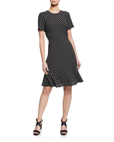 Printed Raglan-Sleeve Flounce Dress