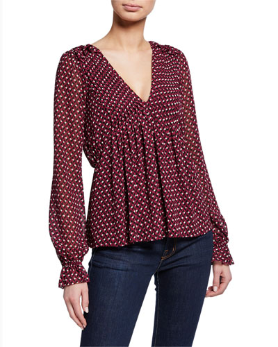 Geo Graphic V-Neck Blouson-Sleeve Peplum Top
