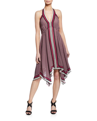 Border Handkerchief Halter Dress