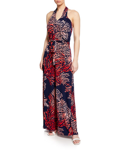Reef-Print Halter Maxi Dress