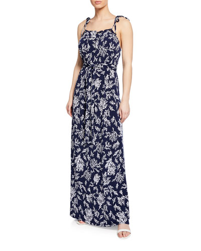 Reef-Print Tie-Shoulder Sleeveless Maxi Dress