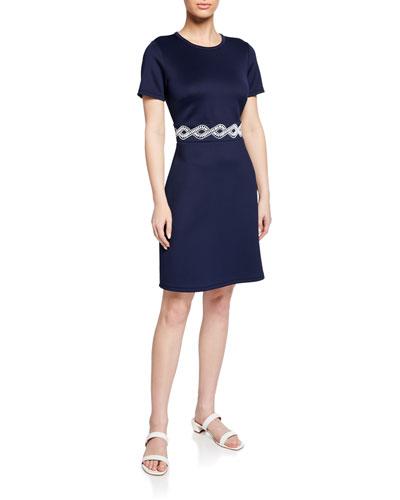 Short-Sleeve Embroidered-Waist Scuba Dress