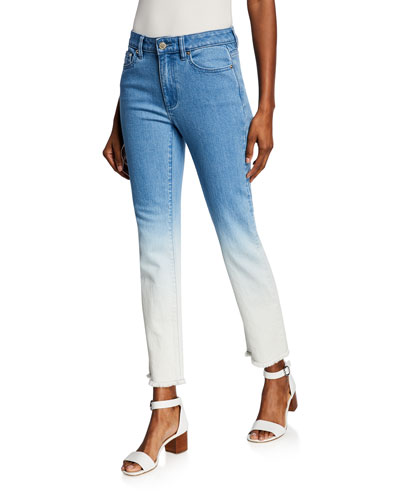 Ombre Straight-Leg Denim Cropped Jeans