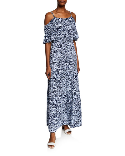 Ikat Cold-Shoulder Short-Sleeve Maxi Dress