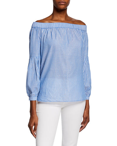Metallic Shadow Stripe Off-the-Shoulder Bracelet-Sleeve Top