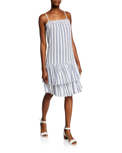 Striped Spaghetti-Strap Smock Slip Dress
