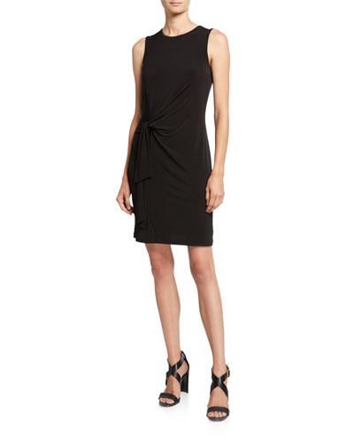 Crewneck Sleeveless Tie-Waist Jersey Dress